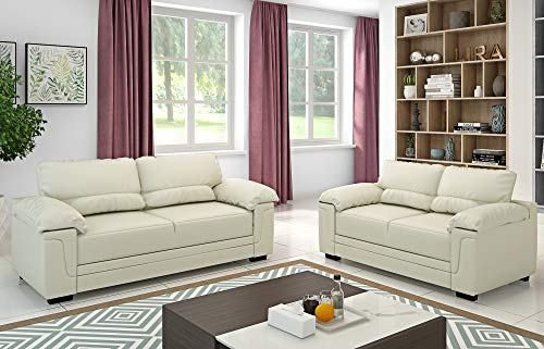 Panana 2 Seater + 3 Seater Group Sofa Set Corner Sofa in Faux Leather Modern Sofa Settee Couch for Living Room Office Lounge (Cream, 2 Seater + 3 Seater)