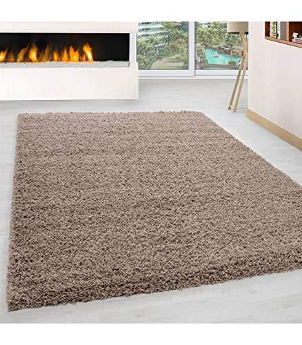 Teppich Hochflor Wohnzimmer Langflor Shaggy Unifarbe vers. Farben und Größen - Beige, 80x150 cm