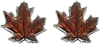 DANFORTH - Maple Leaf/Autumn Mini Post Earrings - Pewter - Surgical Stainless Steel - 3/8 Inch - Handcrafted - Made in USA