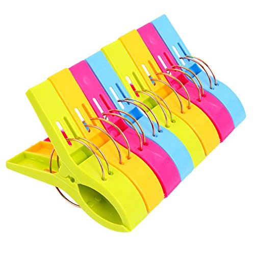 Danmu Colorful Beach Towel Clips, Beach Clips, Towel Clips for Beach Chair, Blankets, Pool Loungers, Cruise (8 Pack) - Keep Your Towel from Blowing...