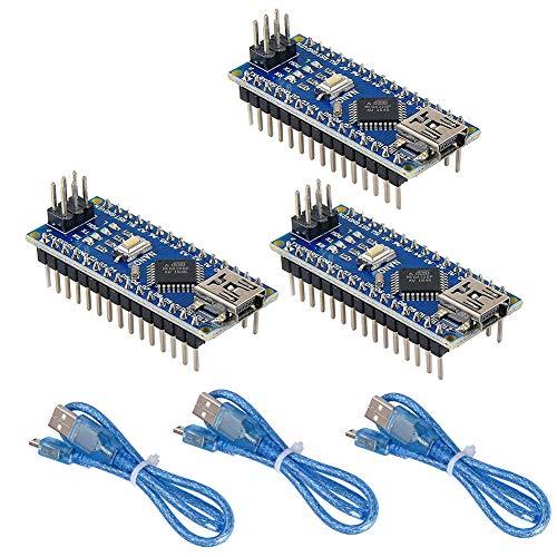 WYPH Mini Nano V3.0 Module ATmega328P 5V 16MHz CH340G Chip Microcontroller Development Board USB Cable for Arduino (Pre-soldered Nano 3pcs)