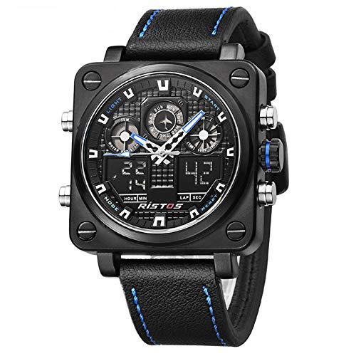 SW Watches RISTOS Sport Digitaluhren Chronograph Männer Multifunktions Analog Mode Militär Herren Leder Armbanduhr