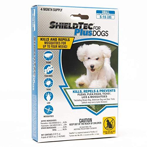 ShieldTec Flea, Tick, and Mosquito Prevention for Dogs, Small, 5-15 lbs (4 Dose)
