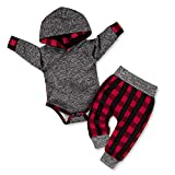 Newborn Baby Boy Clothes Plaid Letter Print Long Sleeve Hoodies + Long Pants 2PCS Outfits Set 3-6 Months Grey