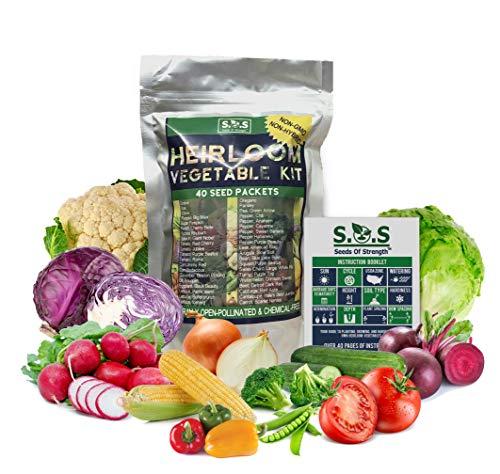 40 Variety Pack Non GMO Heirloom Vegetable Seeds Survival Garden (Vegetable Seeds)