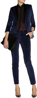 Women's Velvet Pant Suits Set Ladies Business Office Tuxedos Formal Work Wear