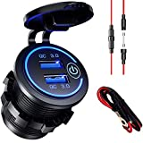 12V USB Outlet, Quick Charge 3.0 Dual USB Power Outlet DIY Car Charger Socket with Touch Switch 36W 12V/24V Fast Charger Waterproof Power Outlet for Truck Motorcycle Marine Boat Bus RV Golf Cart