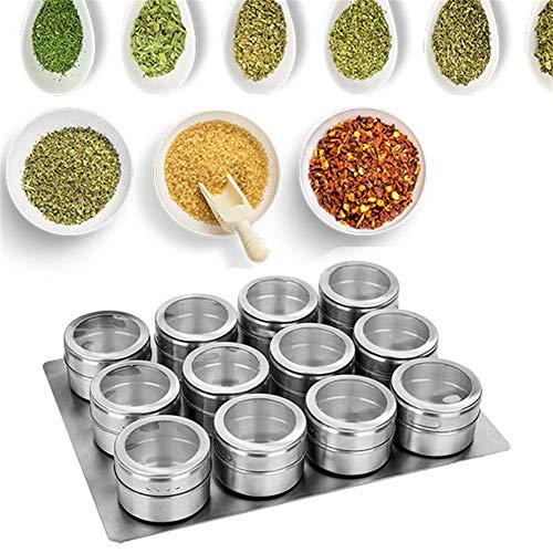 raspbery Magnetische Gewürzdosen,12 Teiliges Set Gewürzdosen Gewürzgläser Edelstahl Magnetisch Staubdicht Sichtbar Gewürzflasche für Das Kochen In Der Küche und Grillen
