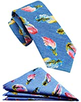 Mens Cotton Skinny Floral Tie Combo Set with Pocket Square TC054