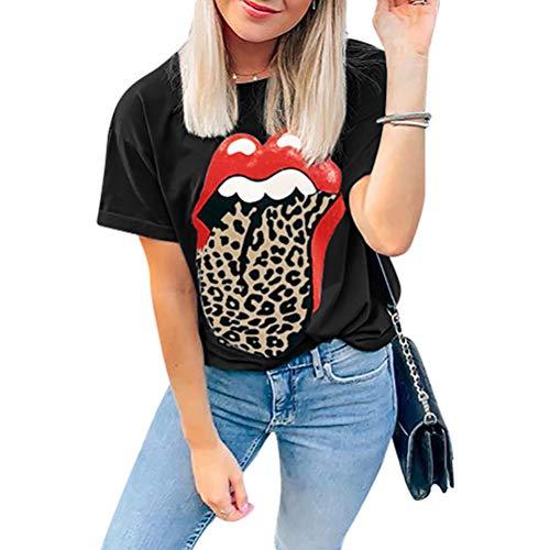 Labios Rojos Camiseta Estampada Apenada Lengua de Leopardo Estampado Animal de Guepardo Camiseta Parte Superior