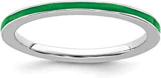 925 Sterling Silver Green Enameled 1.5mm Band Ring Stackable Ed Fine Jewelry For Women Gift Set
