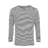 Asquith & Fox Men's Marinière Coastal Long Sleeve tee Camiseta, Multicolor (White/Navy 000), Medium para Hombre