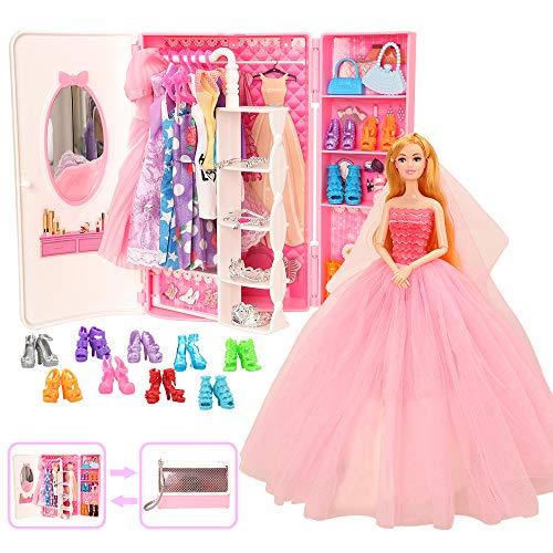 Miunana 39 - Armario ropero y joyas, accesorios para muñecas = 1 armario + 11 vestidos + 5 zapatos + 10 perchas + 6 collares + 6 coronas.