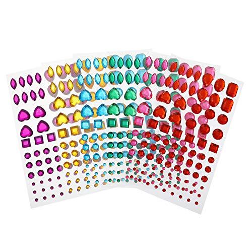 VALICLUD 6 Piezas de Pegatinas de Diamante de Cristal Acrílico Autoadhesivas de Diamantes de Imitación DIY 3D Manualidades Joyas Pegatinas Planas Hojas de Gemas para Uñas 3D Arte Ropa