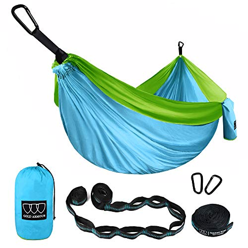 Gold Armour Camping Hammock - Extra Large Double Parachute Hammock (2 Tree Straps 32 Loops, 29 Colors/Patterns) USA Brand Lightweight Adults Kids, Camping Accessories Gear (Sky Blue and Lime Green)