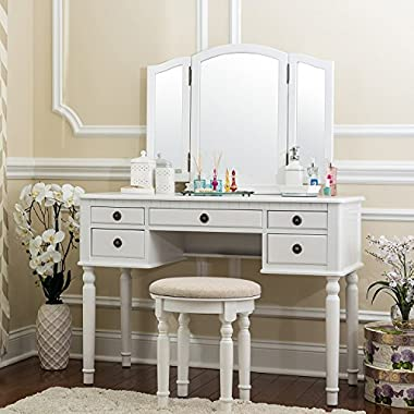 Fineboard Dressing Set With Stool Beauty Station Makeup Table Three Mirror Vanity Set, 5 Organization Drawers, White
