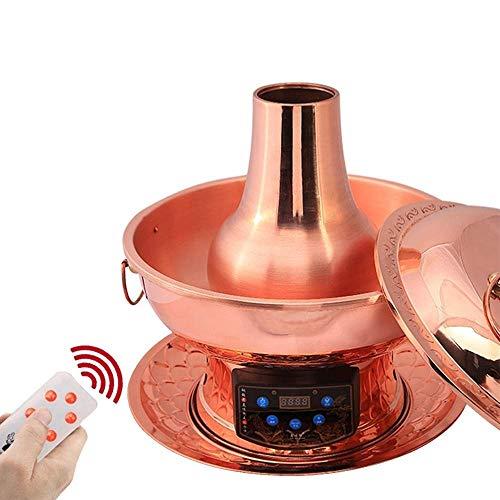51OzhgBslbL - Lamyanran Fondue-Fritteusen 2-4 Person 30cm Kupfer Hot Pot Haushalt, reines Kupfer Stecker Altmodische Charcoal Old Beijing Shabu Hot Pot mit Fernbedienung