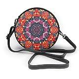 BAODANLA Bolso redondo mujer Shoulder Bags Women Round Bags Hippie Mandala Datura Crossbody Leather Circle Bag