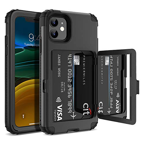 WeLoveCase iPhone 11 Wallet Case Defender Wallet Credit Card Holder Cover with Hidden Mirror Three Layer Shockproof Heavy Duty Protection All-Round Armor Protective Case for Apple iPhone 11 Black