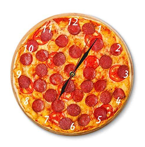 XZXMINGY 30cm/12in Acryl Wanduhr Italienische Pepperoni Pizza Food Acryl Wanduhr Italienisches Restaurant Dekorative Uhr Pizzeria Pasta Chef Vintage Geschenkuhr Uhr