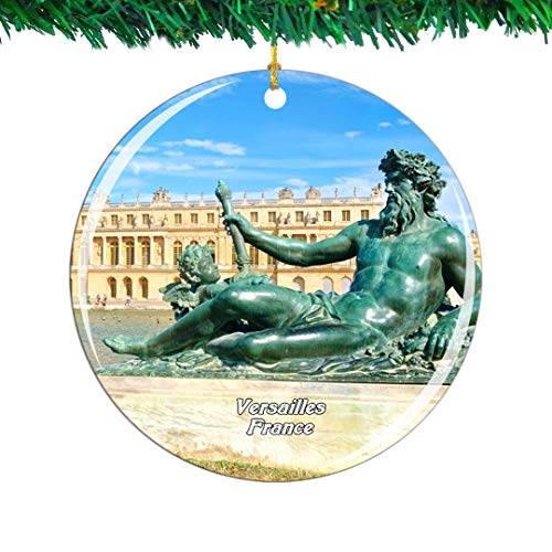 Weekino France Palace of Versailles Christmas Ornament City Travel Souvenir Collection Double Sided Porcelain 2.85 Inch Hanging Tree Decoration