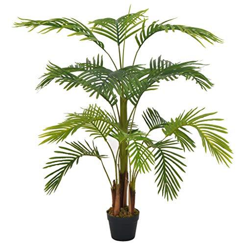 Tidyard Planta Artificial Palmera con macetero 120 cm Verde Plantas Decorativas Artificiales