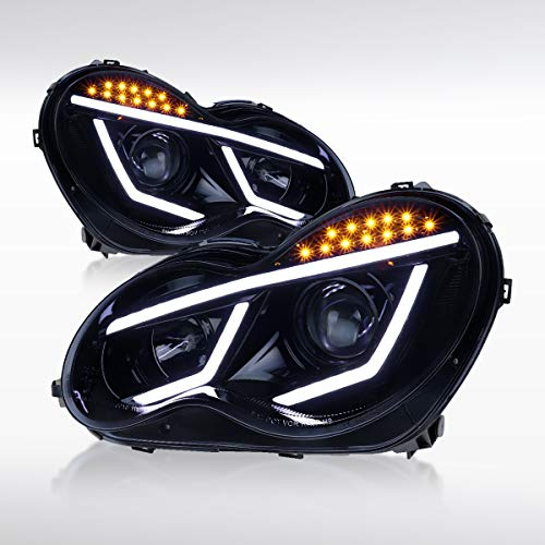Autozensation For Mercedes Benz W203 C Class C230 C320 4matic Luxury Sport Glossy Black LED Projector Headlights Pair