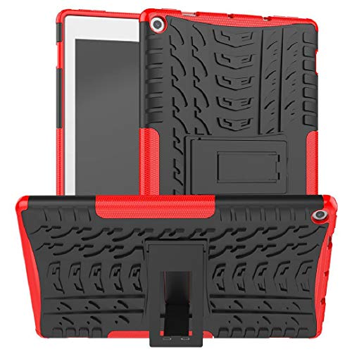 2018 2017 Amazon Kindle Fire HD8 Case, Armor Foldable Movie Stand Slim Cover, TAITOU Hybrid Thin Anti Scratch Outdoor Sport Protect Tablet Case For Amazon Kindle Fire HD8 Red
