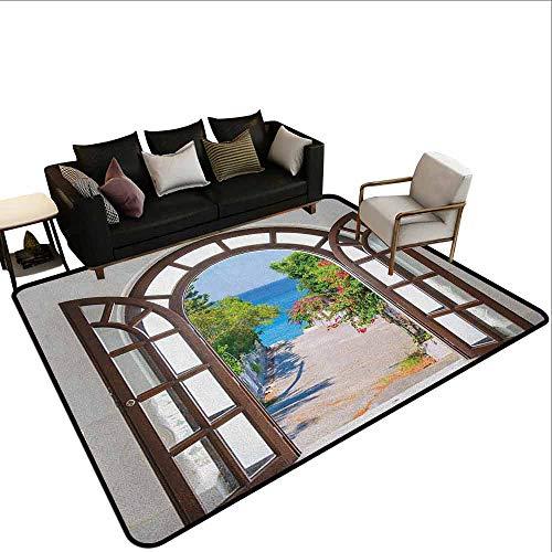 MsShe Conferentiekamer Strand, Illustratie van Hangmat in het Tropische Zandstrand met Exotische Kleur Ocean Print, Navy Cream