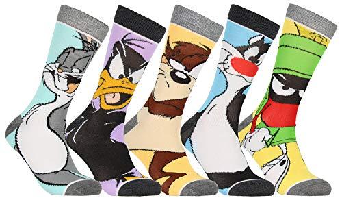 WB Looney Tunes的角色朝向男子5对休闲船员袜子中秋节小牛