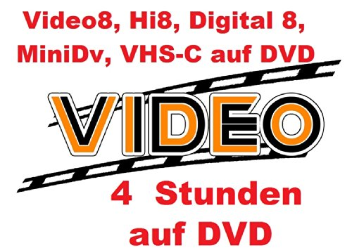 4 Stunden VHS,VHS-C,Digital 8,Hi8, MiniDv,Digitalisieren auf DVD