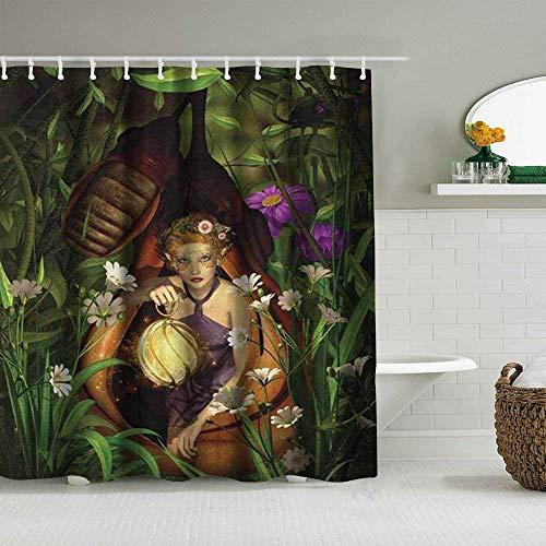Duschvorhang Prinzessin Eine Elfenfrau, die mit Einer Laterne in einem Kokon sitzt Geheimnisvolles Grün Nacht wasserdichte Badeinlagen Haken enthalten - Badezimmerdekorationsideen