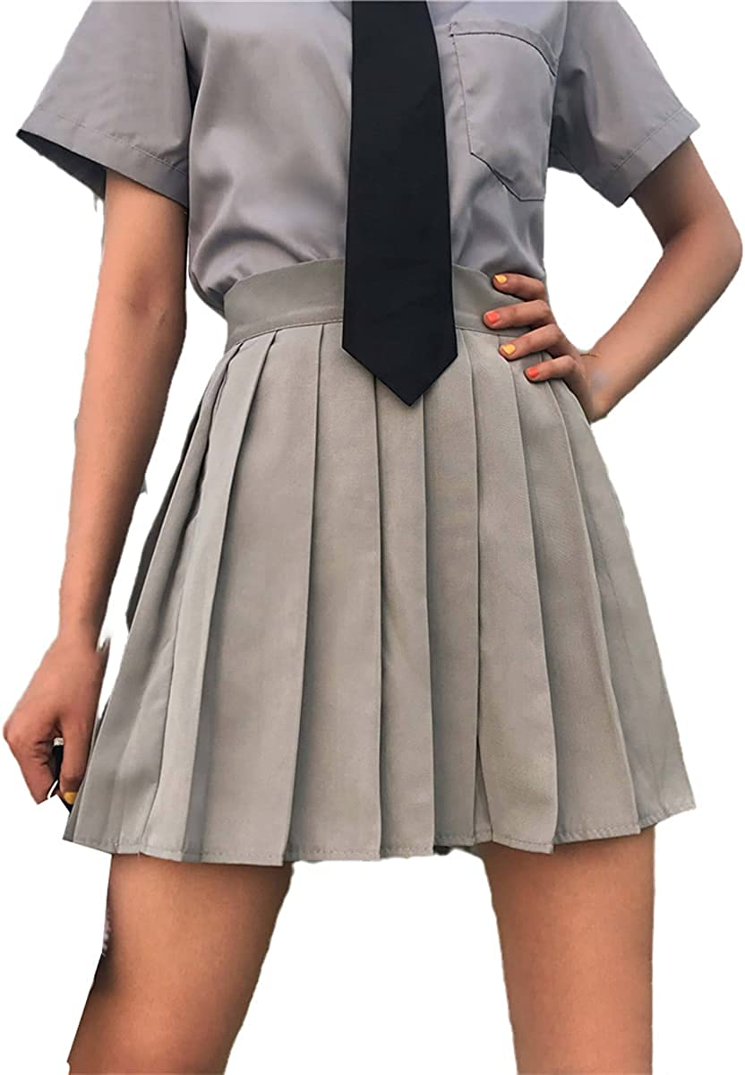 Skirt Ladies Pleated high Waist XL Solid Color Casual Streetwear All-Match Korean Fashion Novelty Daily Comfort