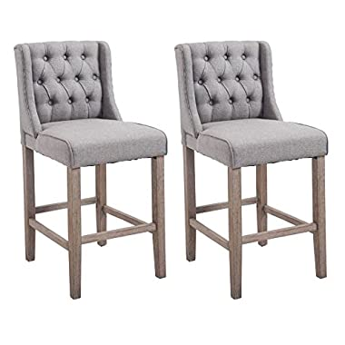 HomCom 40  Tufted Wingback Counter Height Armless Bar Stool Dining Chair Set of 2 - Grey