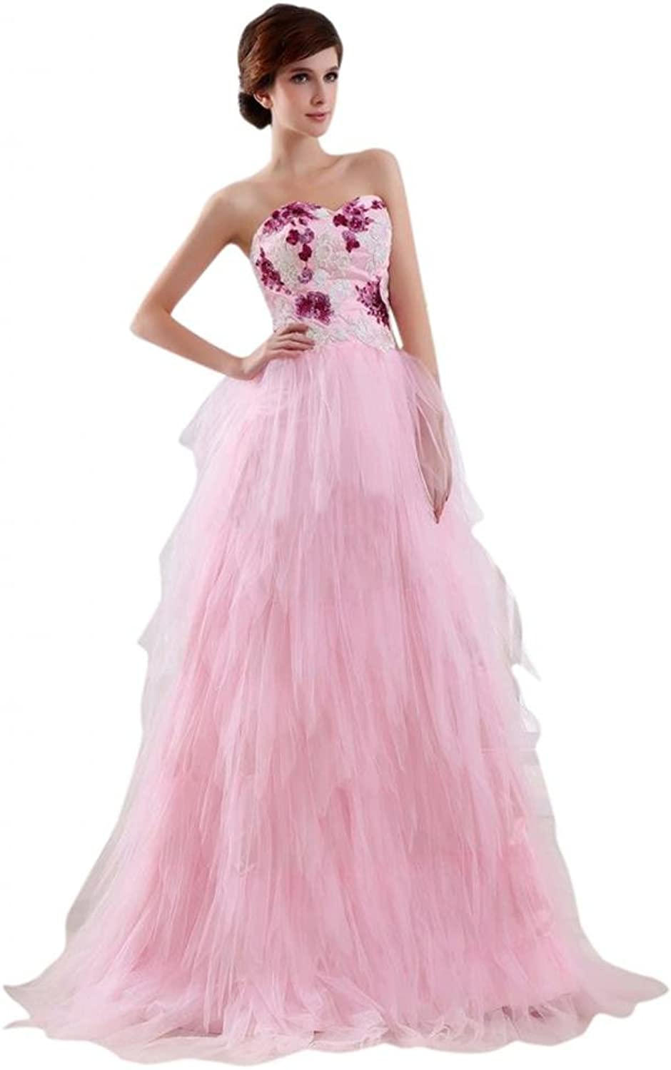 Scarlett Women's Beaded Aline Tulle Party Prom Evening Cocktail Dress Pink