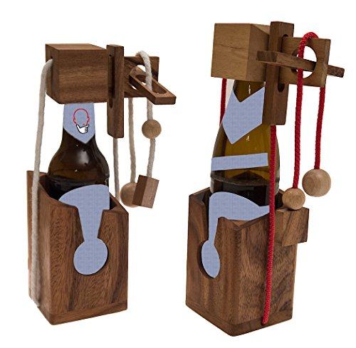 ROMBOL Flaschentresor - Edler Tresor aus Holz für Bierflaschen 0,33l und 0,5l , Bandfarbe:rot