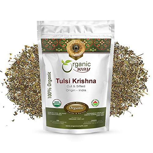 Organic Way Premium Grade Tulsi/Holy Basil (Krishna) Cut & Sifted (Ocimum tenuiflorum) - Organic & Kosher Certified | Raw, Vegan, Non GMO & Gluten Free | USDA Certified | Origin - India (1/2LBS / 8Oz)