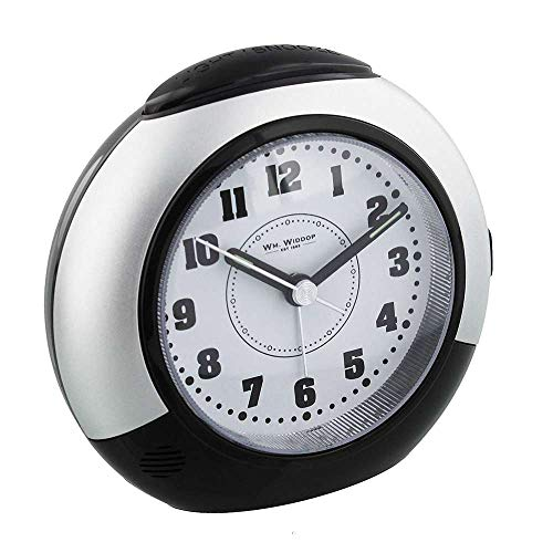 Black & Silver Alarm Clock with Silent Sweep No Ticking Feature plus Snooze & Light by Widdop Bingham