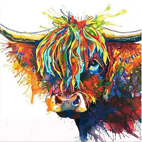 QHZSFF Pintar por Numeros Adultos Niños, DIY Pintura al Óleo por Números Dibujos para Pintar con Números Decoración del Hogar Vaca de Pelo Largo -40 x 50 cm-Sin Marco