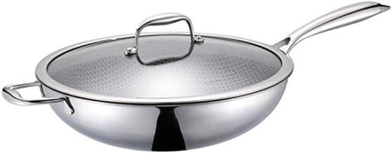LJBH Pan,Stainless Steel Flat Wok, 12.8 Inches, Temperament Transparent Ergonomic handle design, comfortable grip (Color :...