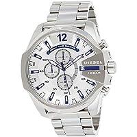 Diesel Mega Chief Chronograph Stainless Steel Quartz Men's Watch (Silver)