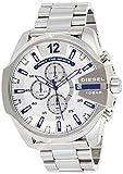 Diesel Men's Mega Chief Quartz Watch with Stainless-Steel Strap, Silver, 12 (Model: DZ4477)