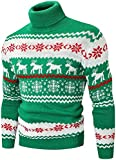 Men's Christmas Sweater, Fashion Christmas Snowflake Reindeer Knit Turtleneck Pullover Sweater Tops, Christmas Green, Small