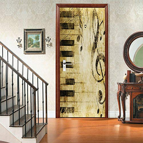 MENTZZXM Piano Keys Notes Door Stickers Pvc Self Adhesive Decor Waterproof  Wall Decals Murals Wallpaper On Door