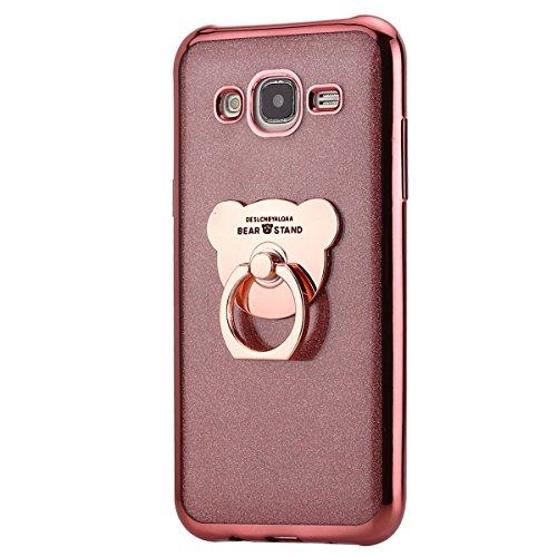 Funda Compatible Samsung Galaxy J5 2015.KunyFond Carcasa Case Cute Bear Anillo Soporte Movil Chapado Brillo Purpurina Bling Brillante Clear Cover Gold Glitter Full TPU Gel Transparente Bumper-Oro Rosa