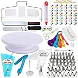 E-SHIDAI Cake Decorating Supplies 100pcs Set 1 Cake Turntable Stand 2 Icing Spatulas 48 Icing Tips 1 Cake Leveler 30 Pastry Bags 1 Cake Flower Nail 3 Scrapers 5 Measuring Spoons