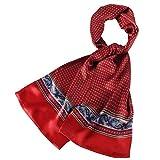 LDCSA Bufandas de Seda Hombre Bussines Scarfs Elegante Regalo 160cm x 26cm(Burdeos rojo)