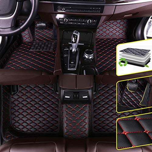 DBL Custom Car Floor Mats for Lexus 2016-2019 LX 8 Seats (fire Extinguisher) Waterproof Non-Slip Leather Carpets Automotive Interior Accessories 1 Set Black & Red