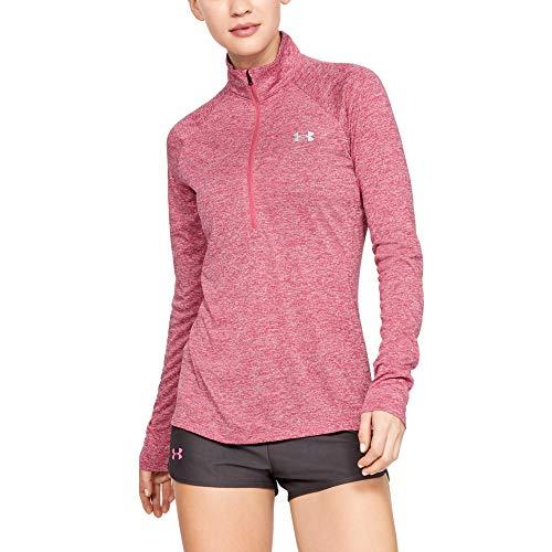 Under Armour Womens Tech Twist ½ Zip Long Sleeve Pullover, Impulse Pink (671)/Metallic Silver, X-Small