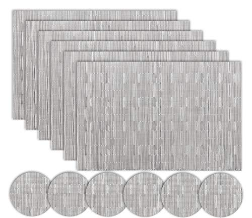 Homcomodar Silver Placemats and Coasters Sets of 6 for Dining Table(Silver Grey)